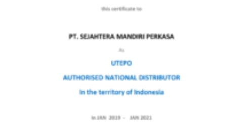 Sertifikat Distributor Resmi UTEPO
